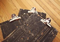 Clipboard DIY.....rustic wood, add clips, sold at amazon