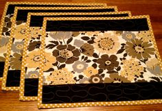 Black, Yellow, Floral Quilted Placemats. $32.00, via Etsy.