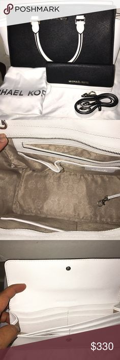 💥AUTHENTIC MICHAEL KORS SELMA BUNDLE💥 Large white and black Selma with silver hardware, includes long strap and dust bag In excellent conditions no stains only minimal scratches on the zipper pull and metal feet.the wallet is in new conditions no flaws, additional pictures in my listing 💥make an offer 💥 Michael Kors Bags Satchels