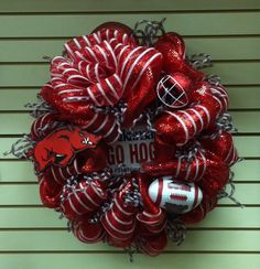 Arkansas Razorback Wreath.  All supplies can be bought at EyeCatching decor