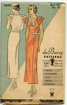 1930s Dress Pattern Du Barry 1160 B Slim Skirt Double Shoulder