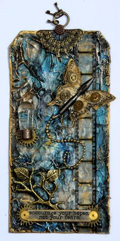 Mixed media art tag by Rebecca Morris via Marjie Kemper's Tuesday's Texture blog series, Week 32 wp.me/p3h5Xm-2OV