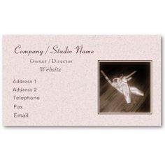 'TOE SHOES' BUSINESS CARD, by The Flying Pig Gallery on Zazzle (lizadeyphoto) - Business card featuring a photo of elegant toe shoes with ribbons resting against the wooden floor of a dance studio. Perfect for dance studios or ballet companies; can also be adapted to individual use. Text may be customized according to your needs.