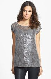 Eileen Fisher Bateau Neck Short Sleeve Sequin Top