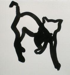 Katt II, tusch, 35x40cm Bo Ljungcrantz