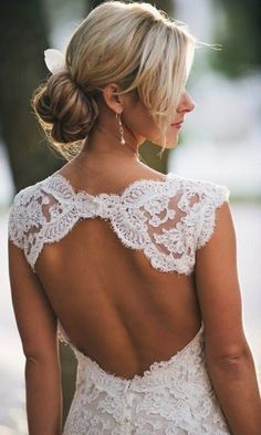 beautiful white  wedding dress with a beautiful back
