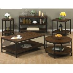 Shop for the Jofran Urban Nature Rectangle Cocktail Table with Steel and Pine Construction at Pilgrim Furniture City - Your Hartford, Bridgeport, Connecticut Furniture & Mattress Store 3 Piece Coffee Table Set, Solid Wood Coffee Table, Cool Coffee Tables, Round Coffee Table, Chair Side Table, Wood End Tables, End Tables With Storage, Coffee Table With Storage, Side Tables
