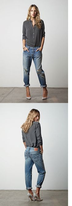 Levis 501 ® CT Jean, women denim jeans boyfriend, great outfit, basic shirt and high heels