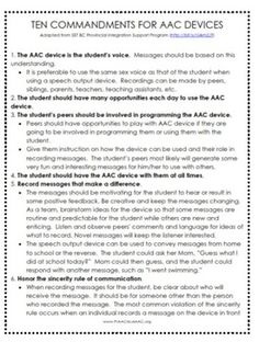 10 Commandments of AAC Devices:http://www.teacherspayteachers.com/Product/10-Commandments-of-AAC-Devices-356753