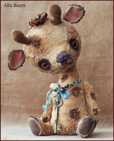 By Alla Bears Vintage Giraffe artist Old Teddy Bear art doll OOAK prim handmade toy baby girl boy Retro Antique button Silk custom stuffed