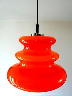 glass pendant Lamp Holmegaard Putzler Eames Panton Danish Orange 60s era