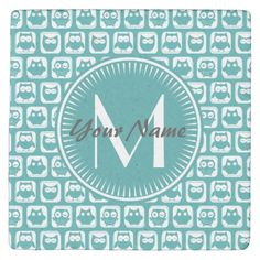 Shop Monogrammed Teal and White Owls Stone Coaster created by Personalize it with photos & text or purchase as is! Cartoon Owl Pictures, Owl Cartoon, Owl Invitations, Owl Blanket, Owl Mug, Owl Card, White Owls, Owl Patterns, Stone Coasters