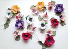 Felt flower garland of multicolor flowers - felt flower vine, floral garland, felt rose garland, nursery garland, wedding garland, magenta by mellsva on Etsy