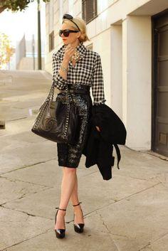 Black Gingham shirt w/ sequin pencil skirt