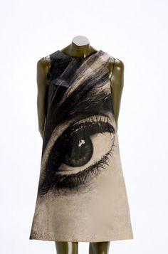 """Harry Gordon The """"EYE"""" Poster dress 1960's."""