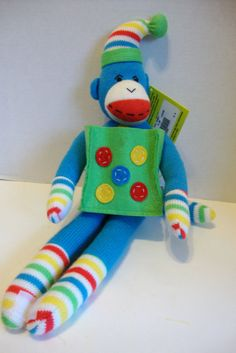 Blue Sock Monkey with Gift Bag