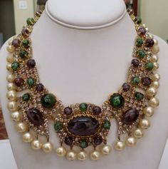 RARE VINTAGE 1961 CHRISTIAN DIOR HUGE CABOCHON RHINESTONE BIB NECKLACE EARRINGS in Jewelry & Watches, Vintage & Antique Jewelry, Costume, Designer, Signed, Necklaces & Pendants   eBay