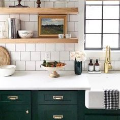 dark green kitchen cabinets white tile open shelving farmhouse sink and lower amazing very appealing next house color schemes New Kitchen, Kitchen Dining, Kitchen Decor, Dark Green Kitchen, Kitchen Colors, Eclectic Kitchen, Kitchen Ideas, Tudor Kitchen, White Kitchen Sink
