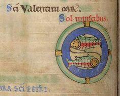 Detail of a miniature of Pisces.  Origin: Englandhttp://www.bl.uk/catalogues/illuminatedmanuscripts/ILLUMIN