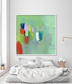 """Large wall art, abstract painting, Giclee print, up to 40x40"""", modern Painting, Abstract Art, Acrylic Painting, green, red, mauve #homeinspiration #largeabstract #duealberi #interiorstyling #paintings #afduealberi #wallart #modernart #acrylicpainting #minimalistpainting #abstractart #homedecor #interiors #interiordesign #abstractartwork #artforsale"""