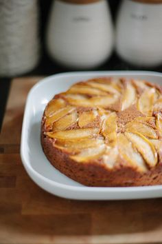 Caramelized Apple Upside Down Cake - Paleo Friendly! For SCD use honey instead of maple syrup