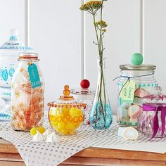 A bit of glass paint transforms thrift-store and recycling-bin finds into one-of-a-kind treasures. First, collect glass jars, bottles, and vases. Draw designs on them with glass paint markers (we used Pebeo Vitrea 160 markers). Set the paint according to the package instructions. To add a knob, paint a wood cabinet knob with acrylic paint. When it's dry, glue it to the lid with an epoxy suitable for glass (an adult's job).                 Originally published in the December/January 2014…