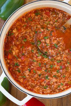 Slow Cooker Stuffed Pepper Soup - 5 Smart Points | Weight Watchers Recipes