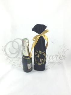 Embalagem para mini-champanhe - Lembrança de casamento - padrinhos