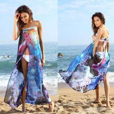 Summer Women Dress Sexy Strapless Super Cooling Beach Loose Dresses Casual Chiffon Cover Up Long Dress