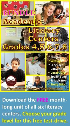 I'm so confident that teachers will recognize the quality of design and content of my Academic Literacy Centers when they see these grades and 8 programs that I'm offering the entire month-long first unit of the Academic Literacy Centers BUNDL Teaching Reading Strategies, Reading Resources, Guided Reading, Reading Comprehension, Close Reading, Classroom Resources, Teaching Ideas, Common Core Vocabulary, Academic Vocabulary