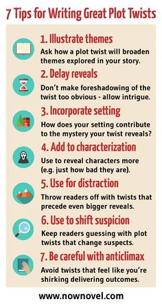 Read the full post for examples and tips. Tips for writing, tips for writing plot twists, writing tips, writing inspiration. Writing Prompts For Writers, Creative Writing Tips, Writing Promps, English Writing Skills, Book Writing Tips, Writing Characters, Writing Words, Fiction Writing, Writing Resources