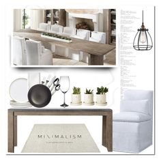 """""""Dining - Restoration Style"""" by pmcdl ❤ liked on Polyvore featuring interior, interiors, interior design, home, home decor, interior decorating, Home Decorators Collection, Restoration Hardware, Fitz and Floyd and Heath Ceramics"""