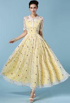 Kleid mit Tüll und Schleife am Ausschnitt-gelb 26.98