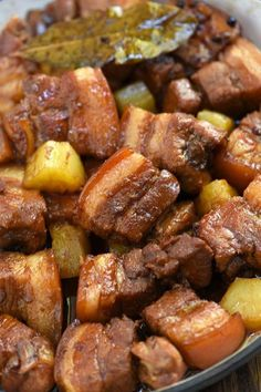 Pork Recipes 72388 Pork Belly Hamonado cooked low and slow in pineapple juice and soy sauce. Melt-in-your-mouth tender with a sweet and tangy sauce, it's amazing over steamed rice and a guaranteed family favorite. Pork Belly Recipes, Meat Recipes, Asian Recipes, Mexican Food Recipes, Chicken Recipes, Cooking Recipes, Healthy Recipes, Pork Side Meat Recipe, Pork Recipe Filipino