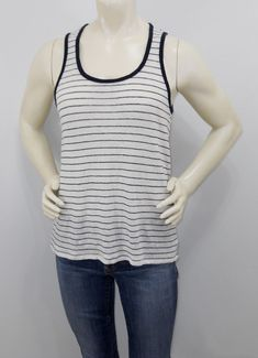 dea9eb69cf3e6 Athleta small Striped Linen Knit Sleeveless Top Cut Out Navy White Tank Top   Athleta
