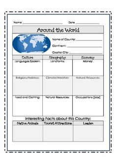 Culture report fun projects worksheets and knowledge research a country pronofoot35fo Image collections