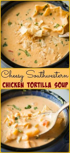 Quick and easy Cheesy Southwestern Chicken Tortilla Soup recipe. Rich and creamy… Quick and easy Cheesy Southwestern Chicken Tortilla Soup recipe. Rich and creamy, this is the soup recipe of your dreams! Crock Pot Recipes, Healthy Soup Recipes, Slow Cooker Recipes, Mexican Food Recipes, Cooking Recipes, Cooking Tips, Chicken Recipes, Chicken Soups, Milk Recipes