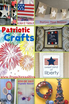 Fun patriotic craft round up! Patriotic Crafts, July Crafts, 4th Of July Party, Fourth Of July, Summer Camp Themes, Star Banner, 4th Of July Decorations, Camping Theme, Fun Ideas