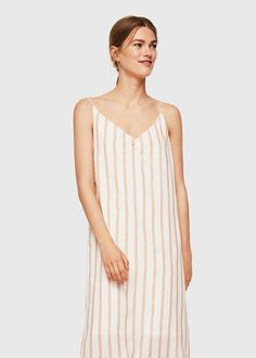 Straight design Cotton and linen mix Striped print Thin straps V-neck Gathered detail Slit detail on the back Inner lining Staple Dress, Short Dresses, Summer Dresses, Straight Dress, Popular Dresses, Striped Linen, Stripe Print, Mango, Street Style