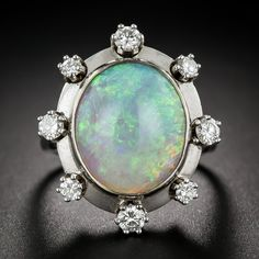 Estate Opal and Diamond Ring - Everything - Vintage Jewelry