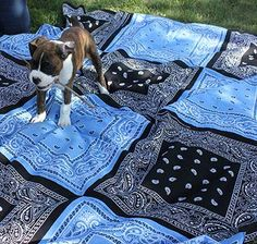 DIY Bandana Quilt by onegoodthingbyjillee:  It's a Picnic Blanket…It's a Tablecloth…It's whatever you dream it to be!