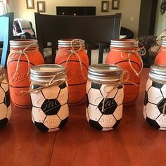 Pick 3 Mason Jar Trio Autumn Home Decor Fall Decor Christmas Gifts For Sports Fans, Coach Christmas Gifts, Mason Jar Crafts, Mason Jar Diy, Bottle Crafts, Mason Jar Centerpieces, Baby Shower Centerpieces, Pink And Gray Nursery, Grey Baby Shower