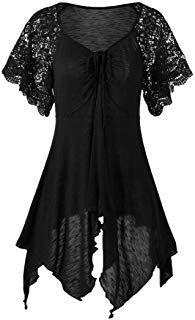 Women Lace Sleeve Top Irregular Hem Solid Blouse Plus Size. Plus Size T Shirts, Plus Size Tops, Plus Size Dresses, Plus Size Outfits, Moda Outfits, Plus Size Kleidung, Tops For Leggings, Blouse Dress, Vintage Skirt