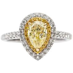 Exquisite Engagement Rings - 695 For Sale at 1stDibs - Page 6 Yellow Diamond Engagement Ring, Colored Engagement Rings, Double Halo Engagement Ring, Yellow Diamond Rings, Pear Shaped Engagement Rings, Engagement Ring Shapes, Dream Engagement Rings, Yellow Diamonds, Contemporary Engagement Rings