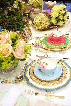 Vintage Floral Teas - Vintage China Hire in Surrey: Vintage Floral Teas to a Tee at Denbies!