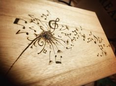 Dandelion musical notes wooden box, tattoo Pyrography art, make a wish, keepsake box, heirloom gift, flower art, dandelion seed, memory box