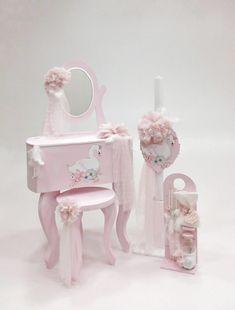 πακέτο, βάπτισης, βάπτιση, κορίτσι, κοριτσάκι, κύκνος, λαμπάδα, κουτί, μπουντουάρ, λαδοσέτ, νονά, νονός, Shabby Chic Pink, Princess Birthday, Little Star, Girl Nursery, Swan, Boudoir, Party, Flowers, Diy
