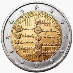 2 euro coins - Austria 2005, 50th anniversary of the Austrian State Treaty. Commemorative 2 euro coins from Austria