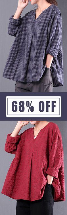 Retro Women Plaid Long Sleeve Vintage Blouse. #women #blouse #vintage