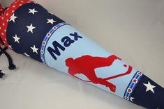 Individuelle Schultüte aus hochwertigen Baumwollstoffen mit coolem Eishockeyspieler - auf Wunsch auch mit Namen, weiterem Schriftzug und/oder Einschulungsdatum beflockt (in Eurer Wunschfarbe). Der...